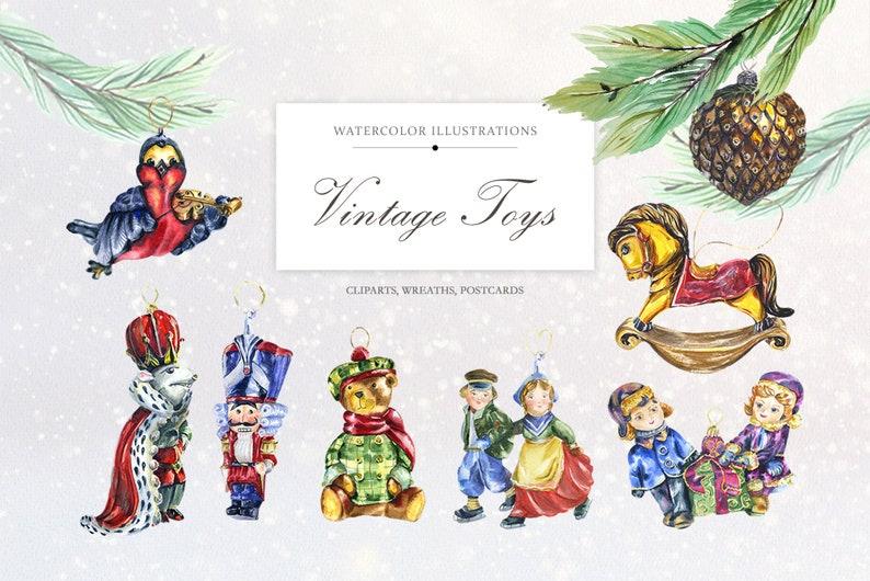 DIY Nutcracker Christmas Watercolor Clip Art Vintage Toys Mouse king clipart Christmas Bundle New Year cards Retro Christmas decor PNG