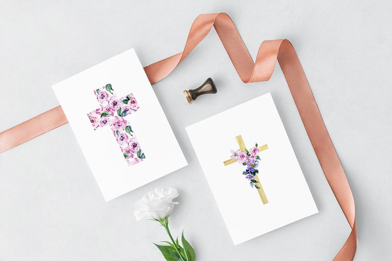 Religious easter clipart Watercolor floral cross clipart First Communion clipart baptism