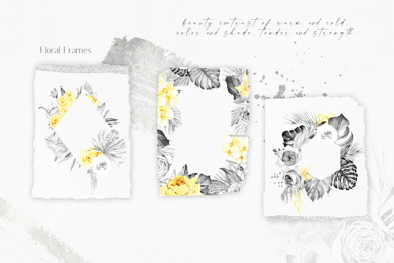 yellow roses clipart palm tree leaves and silver texture black and white flowers Boho tropical watercolor floral clipart