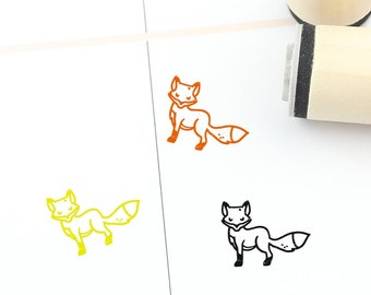 Jumping Leaping Fox Square Rubber Stamp for Stamping Crafting