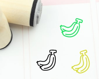 Planner Stamp Cute Banana Stamp Banana Rubber Stamp 20mm Mini Stamps S365 Fruit Stamp 16mm