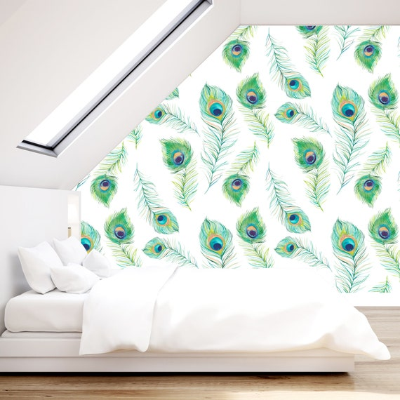 White And Green Removable Wallpapers Peacock Feathers Peel Etsy