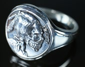 Hobo Nickel Brave Ring - Skull Ring For Men - Sculptural Art - Made Of Sterling Silver 925 Mexican Biker Style - Coin Ring - Indian head