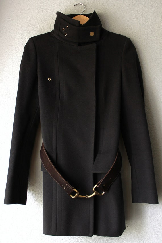 GUCCI women brown cashmere lanawool leather belt c