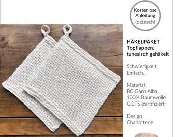 Crochet package for 1 pair of pot holders made of organic cotton (GOTS), instructions, Tunisian crochet, kit, package, set, handmade, hobby, DIY, gift