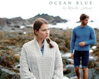 Rowan Ocean Blue, knitting booklet with 14 instructions for sweaters, jackets, scarves, hats, English+german, cotton 95% recycled denim, organic