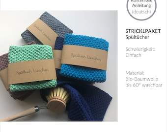 Knitting package for dishcloths made of organic cotton, eco, sustainable, zero waste, knitting set, kit, instructions, beginner, kitchen, utensils, gift