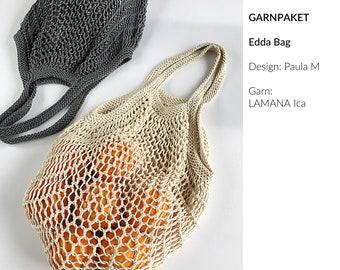 Yarn Package Edda Bag for Instructions by Paula m, Lamana Ica, 100% Pima Cotton, Shopping Net, Knitting, Bag, DIY, Set, Package, Kit