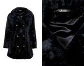 Vintage Mackintosh Faux Fur Black Mod Coat XL, XXL