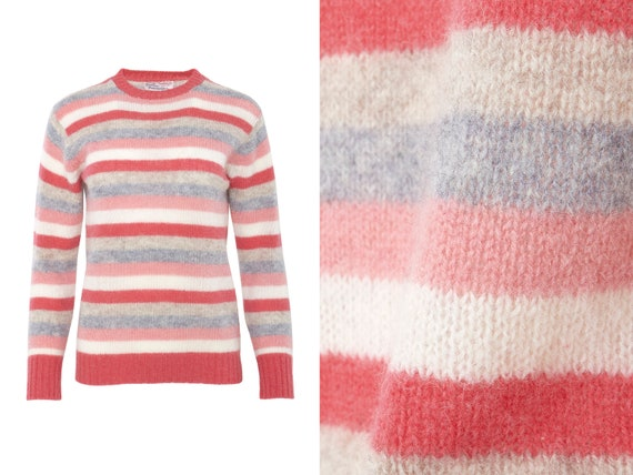 Pink Multi Stripe Shetland Wool Sweater | XS, S