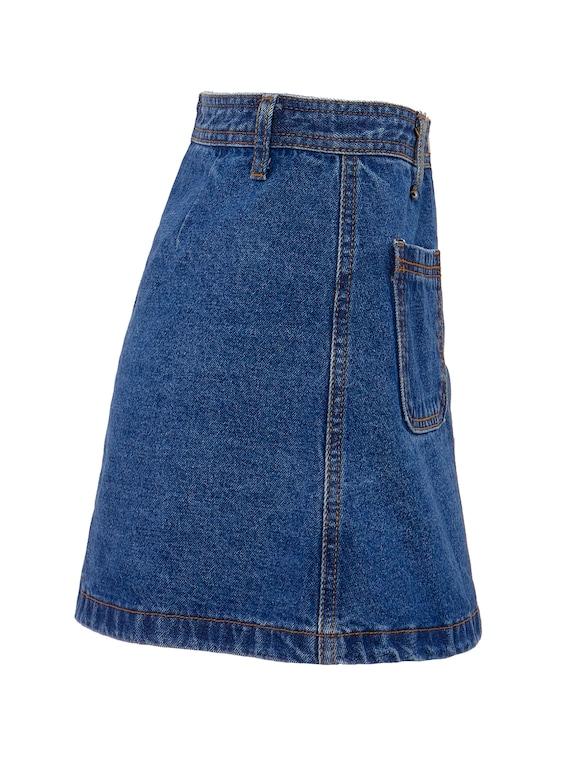 Button Front Denim A-Line Mini Skirt   S, 4 - image 3