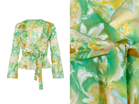 60s Floral Sheer Ruffle Bell Sleeve Wrap Top | XS,