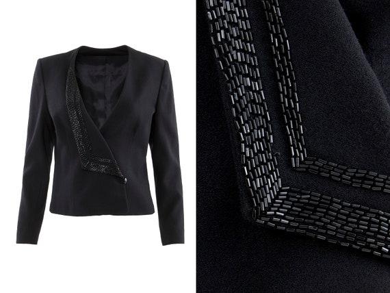 Black Wool Beaded Lapel Asymmetrical Collarless Bl