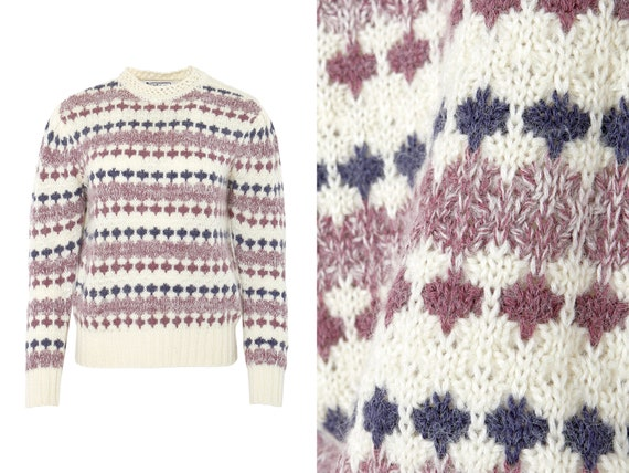 Fuzzy Novelty Stripe Puff Shoulder Sweater | M, L - image 1