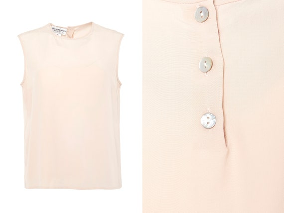 Blush Pink Silk Crepe Sleeveless Blouse | XL, 14