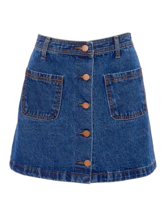 Button Front Denim A-Line Mini Skirt   S, 4 - image 2