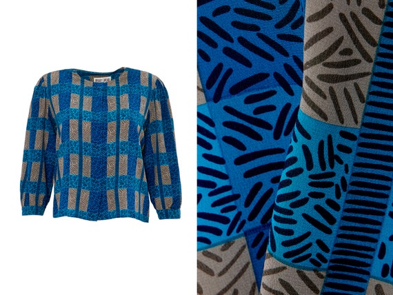 Silk Abstract Print Blouse | 12, M, L, XL
