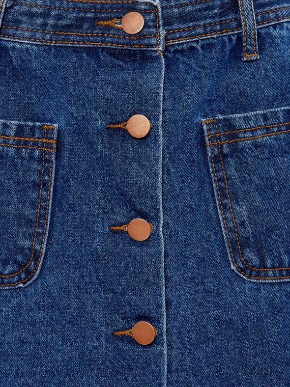 Button Front Denim A-Line Mini Skirt   S, 4 - image 6