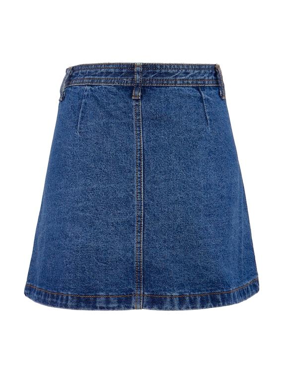 Button Front Denim A-Line Mini Skirt   S, 4 - image 4