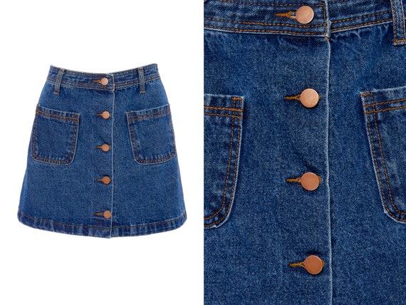 Button Front Denim A-Line Mini Skirt   S, 4 - image 1