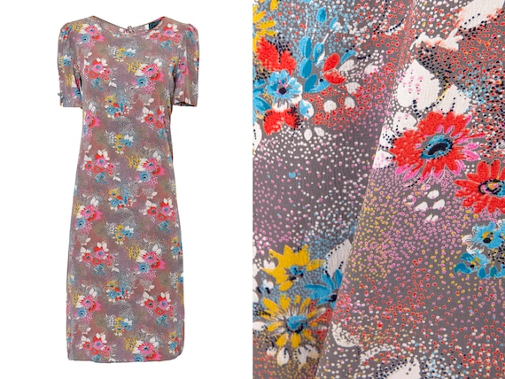 Bright Floral Puff Sleeve Shift Dress | 4, 6, Smal