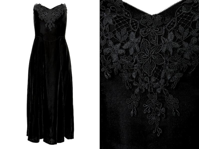 Gunne Sax Black Velvet Lace Corset Top Strapless Dress L 12 XL