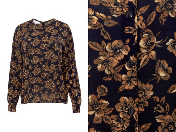 Button Back Autumn Floral Blouse   10, L, XL
