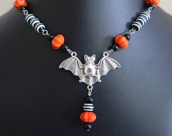 Halloween Bat Necklace and Earrings Set (Black/White Striped Resin, Orange Synthetic Howlite Pumpkin and Black Acrylic Beads)