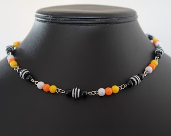 Halloween Candy Corn Bead Necklace and Earrings Set (Black, Yellow, Orange and White Acrylic Beads, Black/White Striped Resin Beads)
