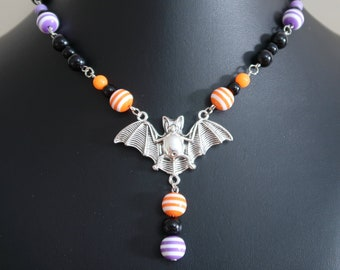 Halloween Bat Necklace and Earrings Set (Orange/White and Purple/White Striped Resin, Orange, Purple and Black Acrylic Beads)