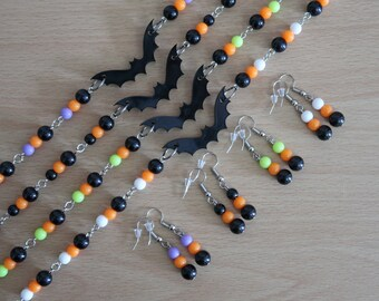 Halloween Bat Bead Necklace and Earrings Set (Black & Orange with Purple, Black, Green or White Acrylic Beads)