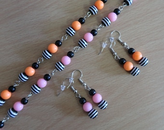 Psychobilly Striped Bead Necklace and Earrings Set (Black Acrylic & Black/White Resin with Orange or Pink Acrylic Beads)