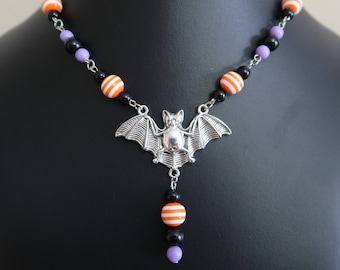 Halloween Bat Necklace and Earrings Set (Orange/White Striped Resin, Purple and Black Acrylic Beads)