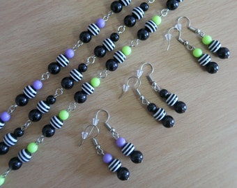 Psychobilly Striped Bead Necklace and Earrings Set (Black Acrylic & Black/White Resin with Purple, Black or Green Acrylic Beads)