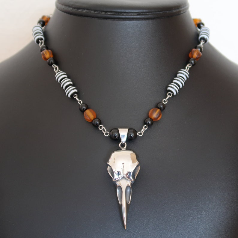 Gothic Bird/Raven Skull Necklace and Earrings Set Stainless image 0