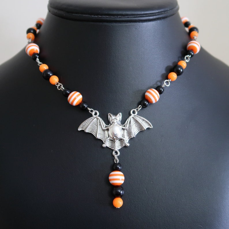 Halloween Bat Necklace and Earrings Set Orange/White Striped image 0