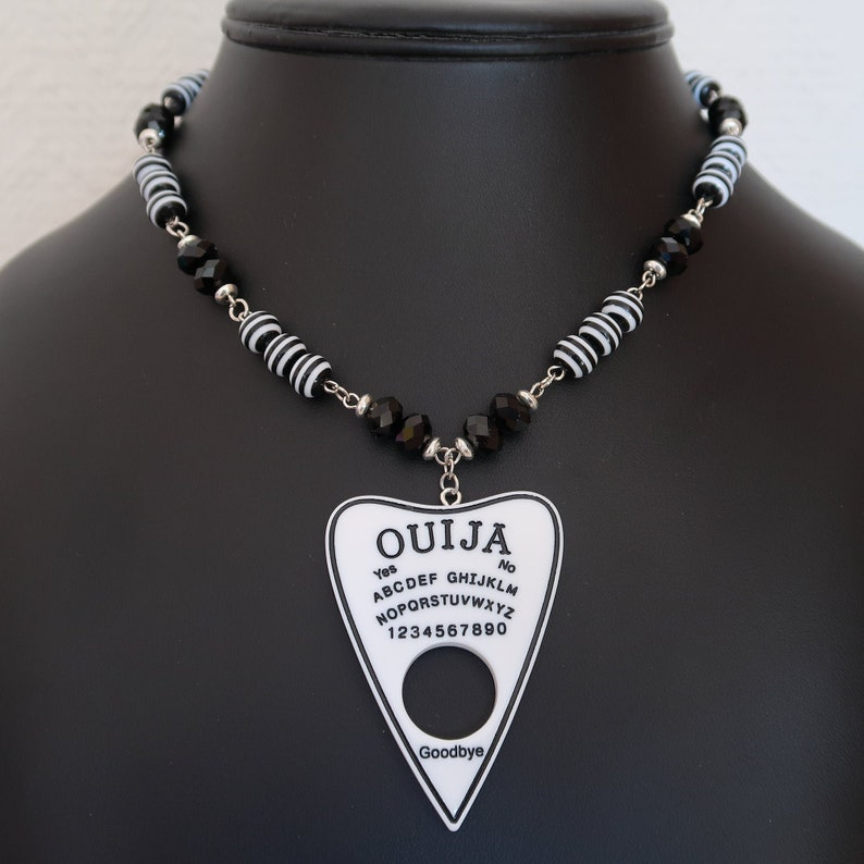 Gothic Ouija Planchette Necklace and Earrings Set Black image 0