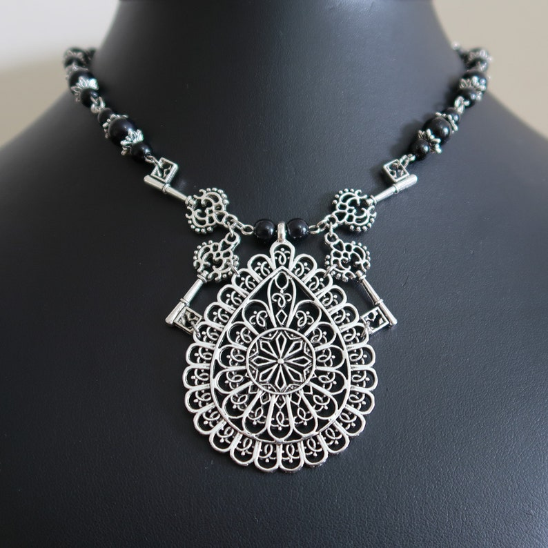 Gothic Cathedral Keys Necklace and Earrings Set Black Acrylic image 0