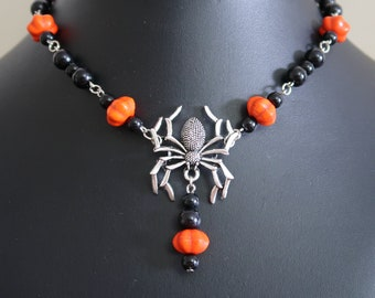 Halloween Spider Necklace and Earrings Set (Orange Synthetic Howlite Pumpkin and Black Acrylic Beads)