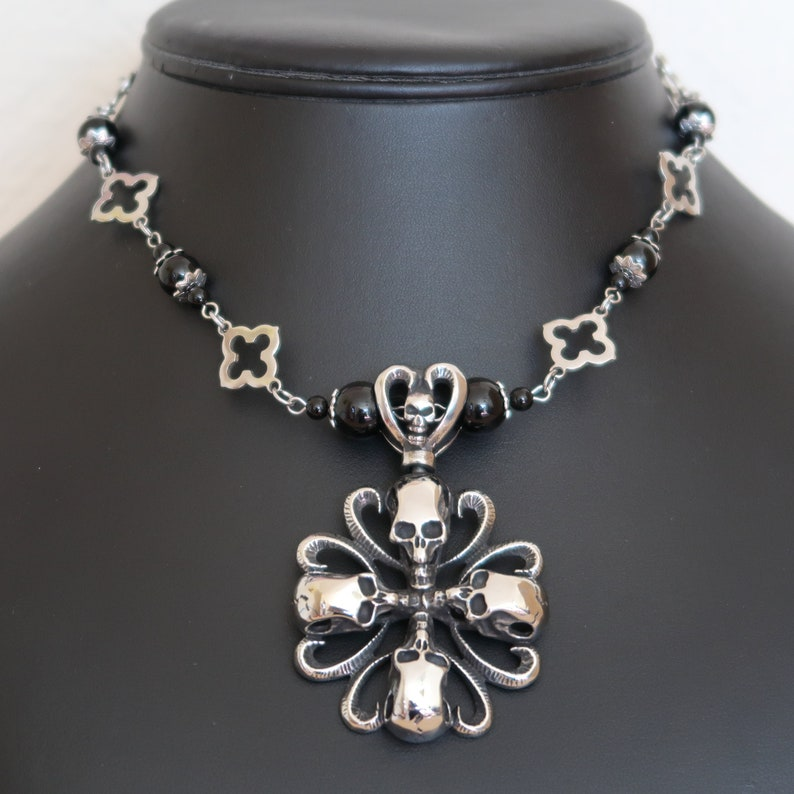 Gothic Four Skull Cross Necklace and Earrings Set Stainless image 0