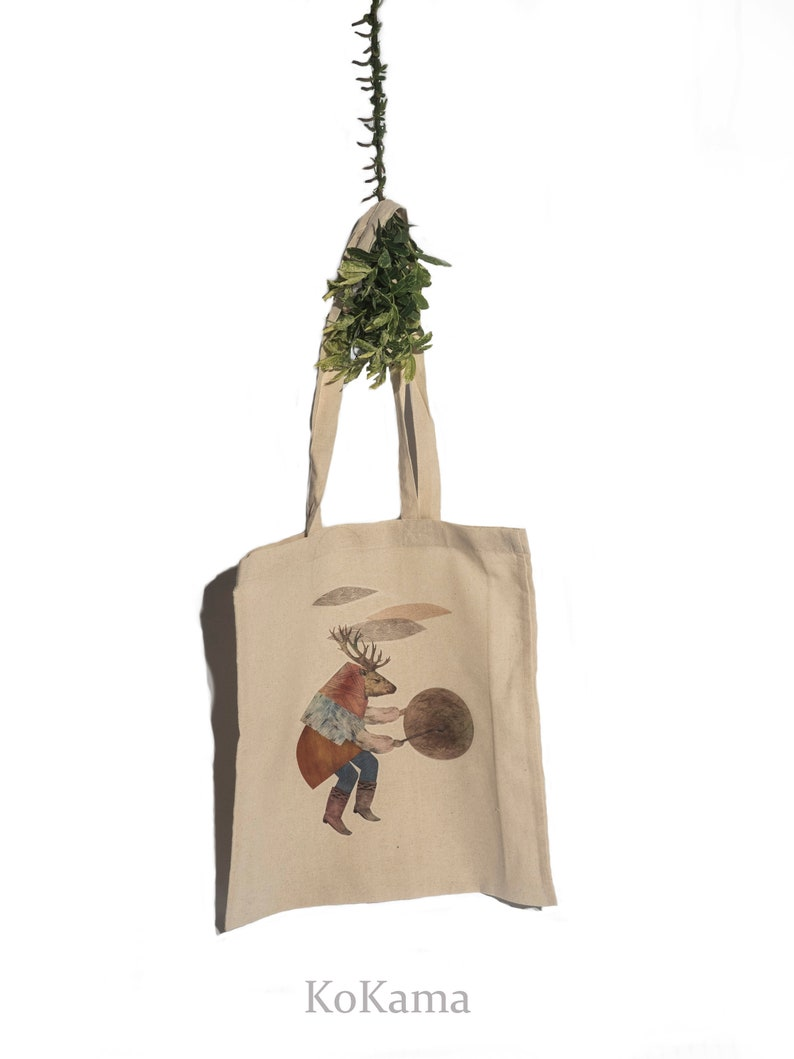 Spiritual Cloths White Bag Deer Playing Drum Shopper Deer Power Animal 100/% cotton Bag Deer Spirit Animal Bag Cotton Bag Jute Bag