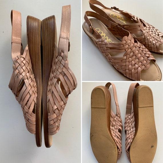 Vintage Pink Huarache Style Cobbie Sandals, Size 7