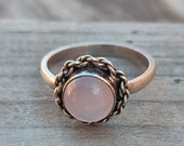 Boho Statement Ring - Rose Quartz Sterling Silver Ring - Hand Crafted Bohemian Ring-Bohemian Ring - Rose Quartz - Rings -Gift for