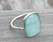 Boho Statement Ring - Aqua calcy Sterling Silver Ring - Hand Crafted Bohemian Ring-Bohemian Ring - Aqua chalcedony - Rings , aqua calcy ring