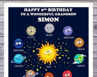 KIDS BIRTHDAY CARDS | solour system moon planets space | personalised with any age, relationship and name