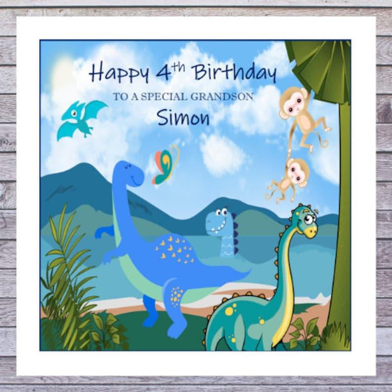 Fantastic Relation Age Dinosaurs Personalised Birthday Card Any Name Personalised Birthday Cards Akebfashionlily Jamesorg