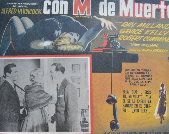 Dial M for murder.( 1954) de Alfred Hitchcock. Original mexican lobby card.