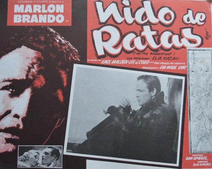 On the waterfront (1955) con Marlon Brando. Original mexican lobby card ( nido de ratas).