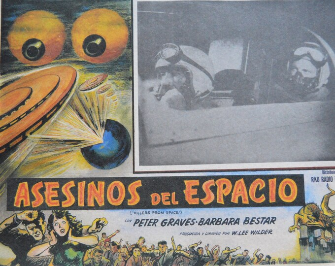 Killers from space ( 1954).Sci-fi serie B  Original mexican lobby card.