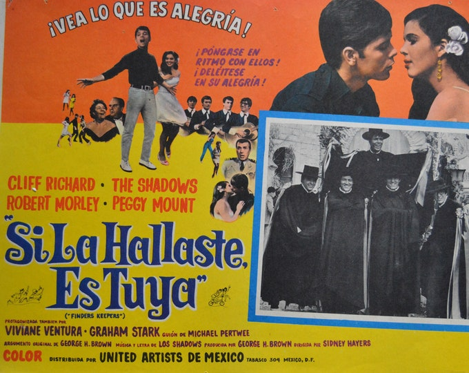 Finders keepers (1966) con Cliff Richard . Original mexican lobby card.